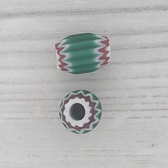 Old Beads And Clasps Rosette 8mm Venetian Rosette Bead In Green With 4 Layers 1940s