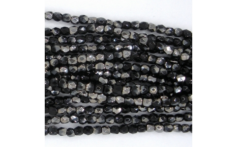 50 x 2mm faceted Black / Chrome beads