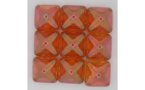 Two hole Crystal Apricot 12mm Pyramid