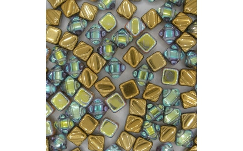 6mm Golden Rainbow square Silky beads