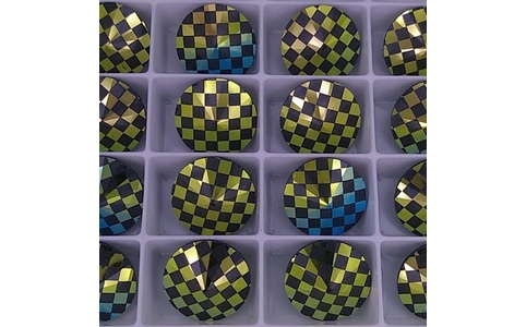 14mm Rivoli in Black with Laser Etched Chessboard pattern (Swarovski)