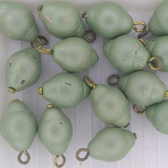 Pair of 12x9mm Green beads with headpins (vintage)