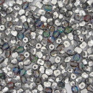 50 x 4mm faceted Silver / Crystal Vitrail beads