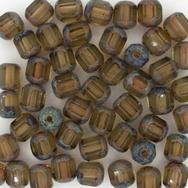 10 x 6mm window beads in Smoked Topaz/Stone