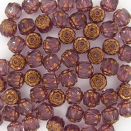 10 x 6mm window beads in Amethyst/Bronze