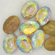 Cab38 - 13x18mm oval cabochon in Crystal AB (Vintage)
