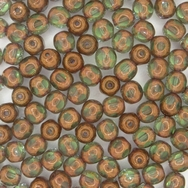 10 x 6mm 5 cut beads in Peridot Green/Bronze