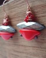 Red and gunmetal bead kit for Vintage Beaded Earrings