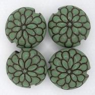 CLB-076-D-M lentil bead in Jade on Terracotta