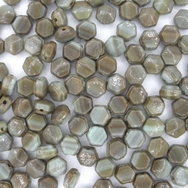 25 x 5mm faceted Brown Marble nailhead beads (modern)
