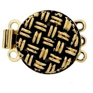 Claspgarten Old Gold textured clasp with 3 rows 13512 - 14x14mm
