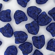 2 x 13mm Cat head beads in Royal Blue