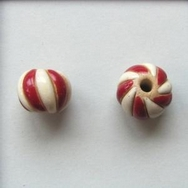 CSB-06-R Red and White round bead