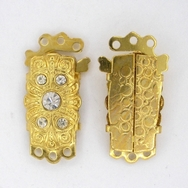 Gold clasp with crystals and 3 rows (25x13mm) 8220