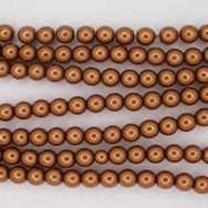 50 x 4mm round glass pearls in Copper
