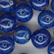 7mm Lampwork round Violet Blue beads (1950s)