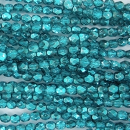 50 x 3mm faceted Marine Metallic Ice beads