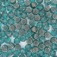 10 x 6mm window beads in Teal/Platina