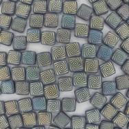 25 x 6mm Laser etched Czech Tiles in Matt Iridescent Swirl