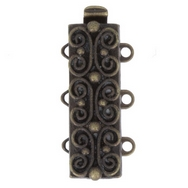 Claspgarten Old Brass clasp with 3 rows 13495 - 19x7mm