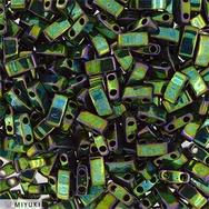 Metallic Green Iris Half Tila Beads 0468