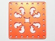 30mm Square Laser Cut Cabochon - Orange Red