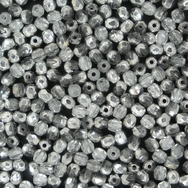 50 x 3mm faceted Silver / Crystal beads *