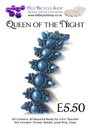 Bead Kit for Queen of the Night Bracelet in Metallic Suede Blue