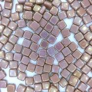 25 x 6mm Czech tiles in Alabaster/Vega Lustre