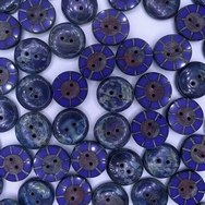 B39 - 2 x 14mm table cut buttons in Opaque Blue Picasso