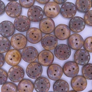 B36 - 2 x 14mm table cut buttons in Orange Brown Picasso