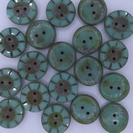 B40 - 2 x 14mm table cut buttons in Green Turquoise Picasso