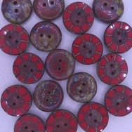 B43 - 2 x 14mm table cut buttons in Opaque Red Picasso
