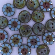 B41 - 2 x 14mm table cut buttons in Sky Blue Picasso