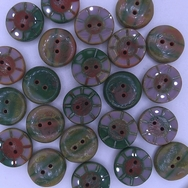 B44 - 2 x 14mm table cut buttons in Mauve/Green