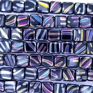 20 x 10mm squares in Black with Multicolour zebra stripes