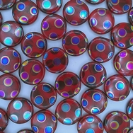 8 x 15mm disc beads in Red with Peacock spots