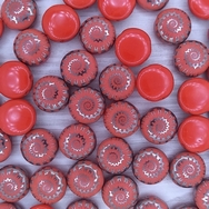 6 x 12mm candy beads in Opaque Red with Laser etched Shell