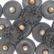 22mm Black glass button B1 (vintage)