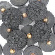 B2 - 22mm Glass button in Black (vintage)