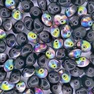 10 x UFO beads in Black Vitrail