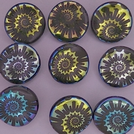18mm glass button in Black with Laser Etched Shell