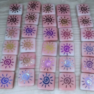6 x 15mm square beads in Pink and White with laser etched sun