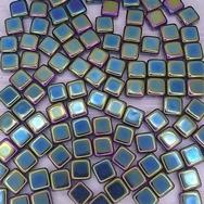 25 x 6mm silky beads in Green Iris