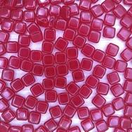 25 x 6mm Czech tiles in Ruby Red