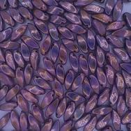 12 x twist beads in Alabaster/Lila Lustre (6x12mm)