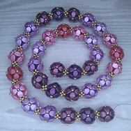 Selection of Pink, Purple and Gold beads for the necklace Selected Berries Harvest