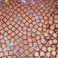 25 x 6mm Czech tiles in Gold Shine Brick Red