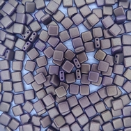 25 x 6mm Czech tiles in Gold Shine Saddle Brown