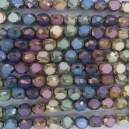 15 x 8mm three cut beads in multicolour/Picasso